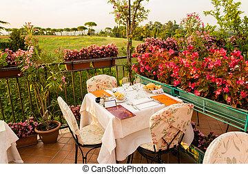 Dinner table in Italian restaurant