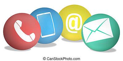 ikonen,  Illustration, skapande, Symboler, kontakta,  design,  4, kombinerade
