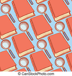 Sketch book and zoom in vintage style, seamless pattern