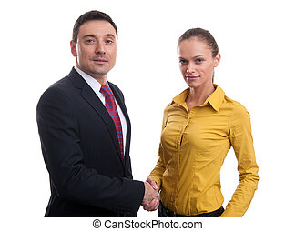 business people shaking hands over a white background