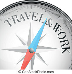 compass travel and work - detailed illustration of a compass...