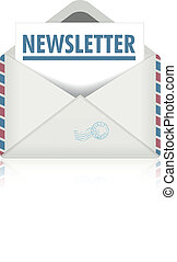 newsletter - detailed illustration of an open envelope with...