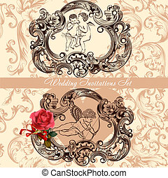 Wedding invitation set with vintage decor - Vector...