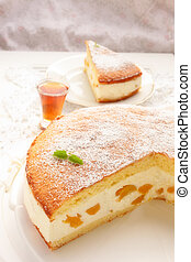 pastel, queso, melocotón, crema