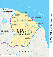 French Guiana Political Map with capital Cayenne, national...