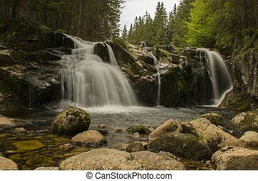 Small elbe's waterfall in Krkonose mountains (Czech Republic)