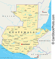 Guatemala Political Map with capital Guatemala City,...