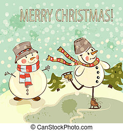 Christmas card with snowmen in vintage style - Christmas...