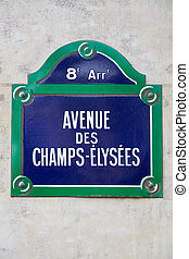 Champs Elysees sign in Paris, France
