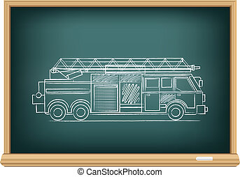 board fire truck - The school blackboard and chalk drawn...