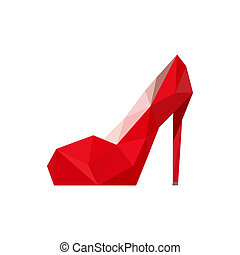 Illustration of origami red shoe isolated on white background