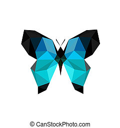 Illustration of origami blue butterfly isolated on white...