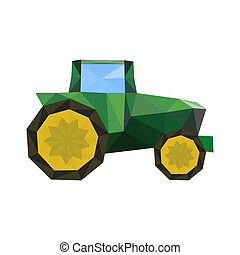 Illustration of abstract origami tractor isolated on white...