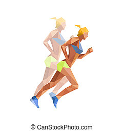 Illustration of polygonal woman athelette running, isolated on w