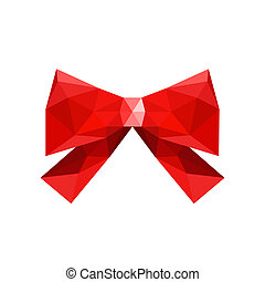 Illustration of red origami bow, isolated on white background