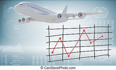 Modern airplane and graph of price changes. Graphs and texts...
