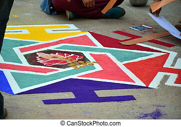 Tihar Deepawali festival - Nepalese people painting art from...