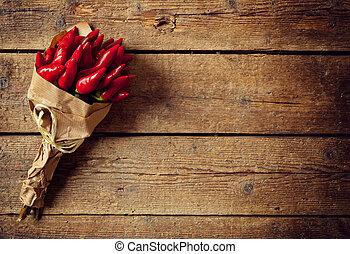 caldo, pepe, rosso, mazzo