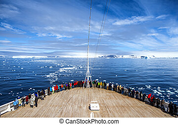 Cruise Ship in Antarctica - The cruise ship stopped its...