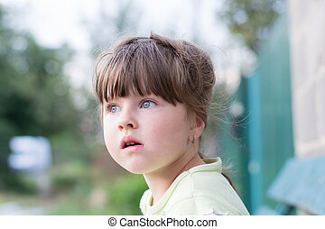 little girl - beautiful face, thoughtful little girl