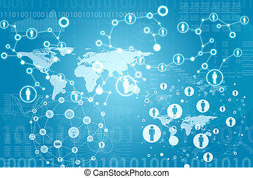 World map with contacts and figures. Business concept