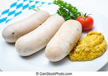 Bavarian meal White sausages with sweet mustard on a plate