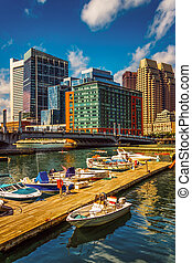 Boats and docks in Fort Point Channel, Boston, Massachusetts...