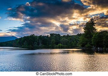 Sunset over Julian Price Lake, along the Blue Ridge Parkway in N