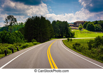 Road and the lodge at Canaan Valley State Park, West...