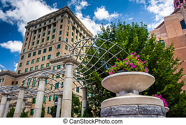 Flowers and Buncombe County Courthouse, in Asheville, North...