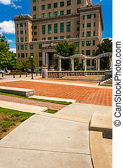 Pack Square Park and the Buncombe County Courthouse in...