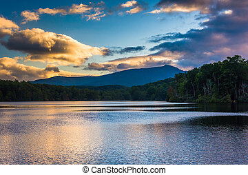 Sunset over Julian Price Lake, along the Blue Ridge Parkway...