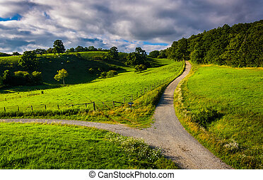 View of trail and fields from the Blue Ridge Parkway at...