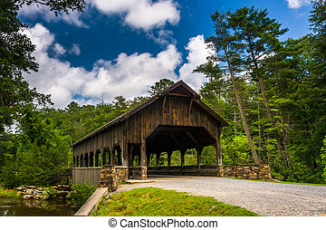 The covered bridge above High Falls, in Dupont State Forest,...