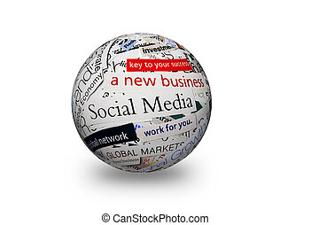 social media business 3d sphere - collage of paper headlines...