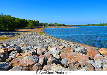 Carlyle Lake Swimming Beach Illinois - Rocky southern...