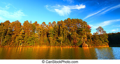 Sweeney Lake Northwoods Wisconsin - Panoramic view of...
