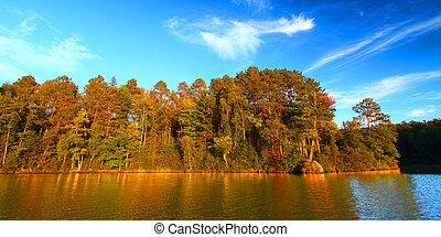 Sweeney Lake Northwoods Wisconsin - Panoramic view of...