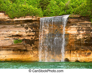 Pictured Rocks Lakeshore Michigan - Spray Falls plunges into...