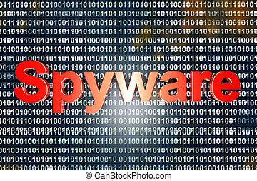 Spyware in the code Typography in front of digital, binary...