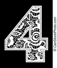 embroidery lace number 4 - illustration of embroidery lace...