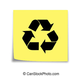 Sticky note reminder to recycle, black on yellow