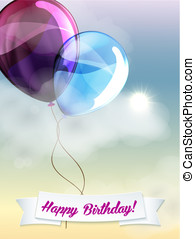 Happy birthday balloons greeting card blue violet...