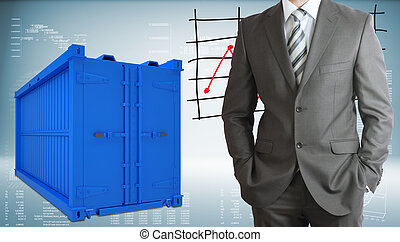 Businessman with freight shipping container - Businessman in...