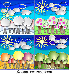 Vector illustration set of all season forest made in paper...