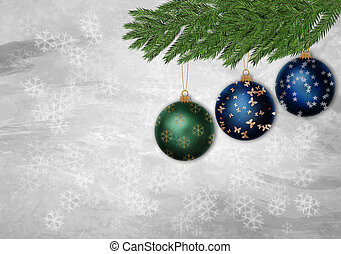 Three Christmas ornament in a pine tree branch