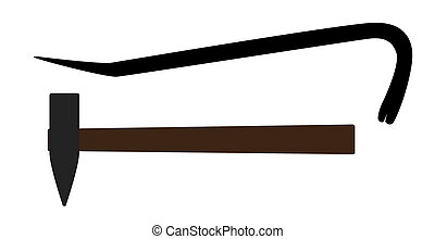 Hammer and Crowbar. Construction Tools. Vector Illustration....