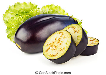 Aubergine - Lettuce, eggplant and three slices isolated on...