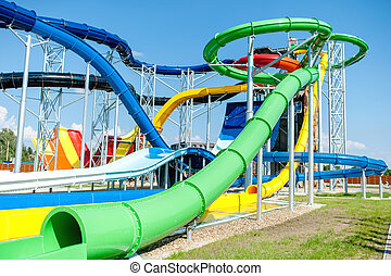 modern water park, aquapark with extreme slides