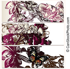 Vector backgrounds set with orchid
